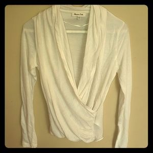 Massimo dutti off white long sleeve shirt size m